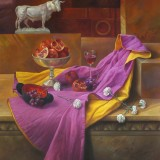 Spanish still life. Oil on canvas 58×45 inches