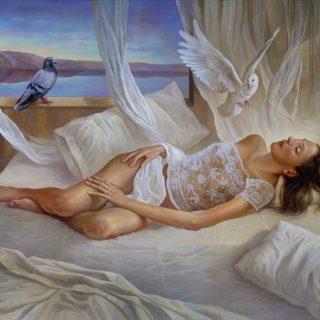 White dream. Oil on canvas 62×52 inches