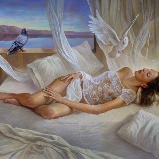 Sueño blanco. Oleo sobre lienzo 158×127 cm.